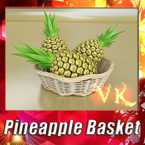 pineapples in wicker basket 10 3d model max obj 3ds fbx mtl mat 1