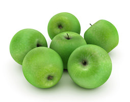 3d model green apples