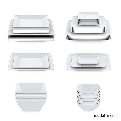 Set of square plates 3D model  sc 1 st  CGTrader & Set of square plates 3D   CGTrader