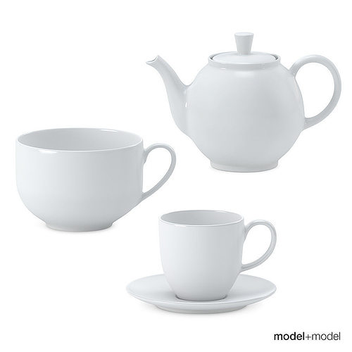 3d Model White Ceramic Tea Set Cgtrader
