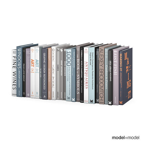 customizable design books collection 3d model max obj fbx mat 1