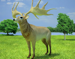 3d model game-ready irish elk megaloceros giganteus