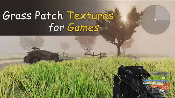 grass patch textures for games 3d model low-poly max obj mtl fbx tga 1