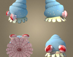 mollusk low poly character max 2011 rigged low-poly 3d asset