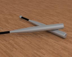 aluminium baseball bat 3d model obj blend