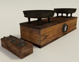 3D antique balance