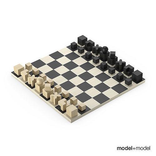 bauhaus chess set 3d model max obj fbx mat 1