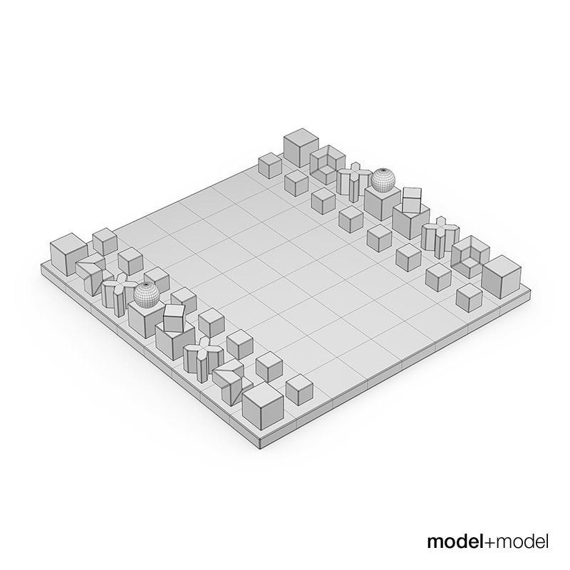 Bauhaus chess set 3d model max obj fbx mat - Bauhaus chess board ...