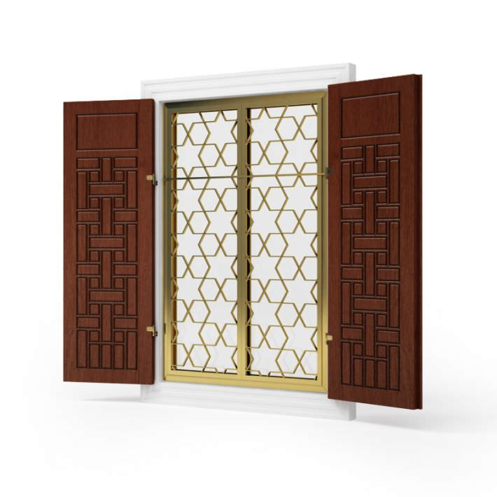 Brown Wood And Gold Metal House Window Shutters 3d Model