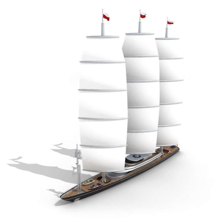 White Sailing Yacht With Sails | 3D model