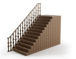 Wood Railing With Brown Stairs 3D