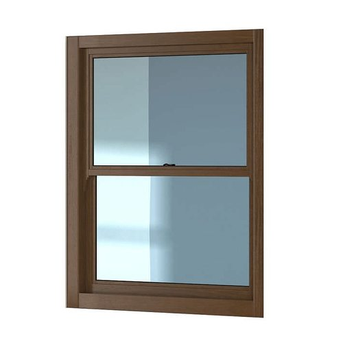 Brown wooden sash window 3d model obj for Window 3d model