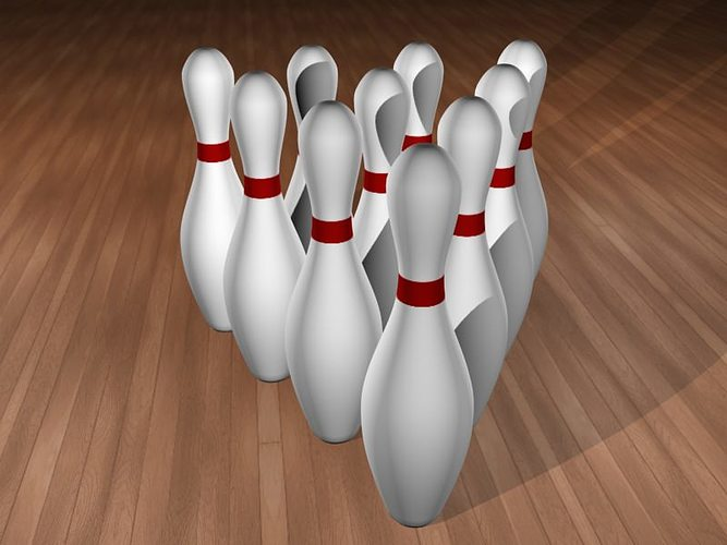 10 bowling pins 3d model max obj mtl 3ds fbx 1
