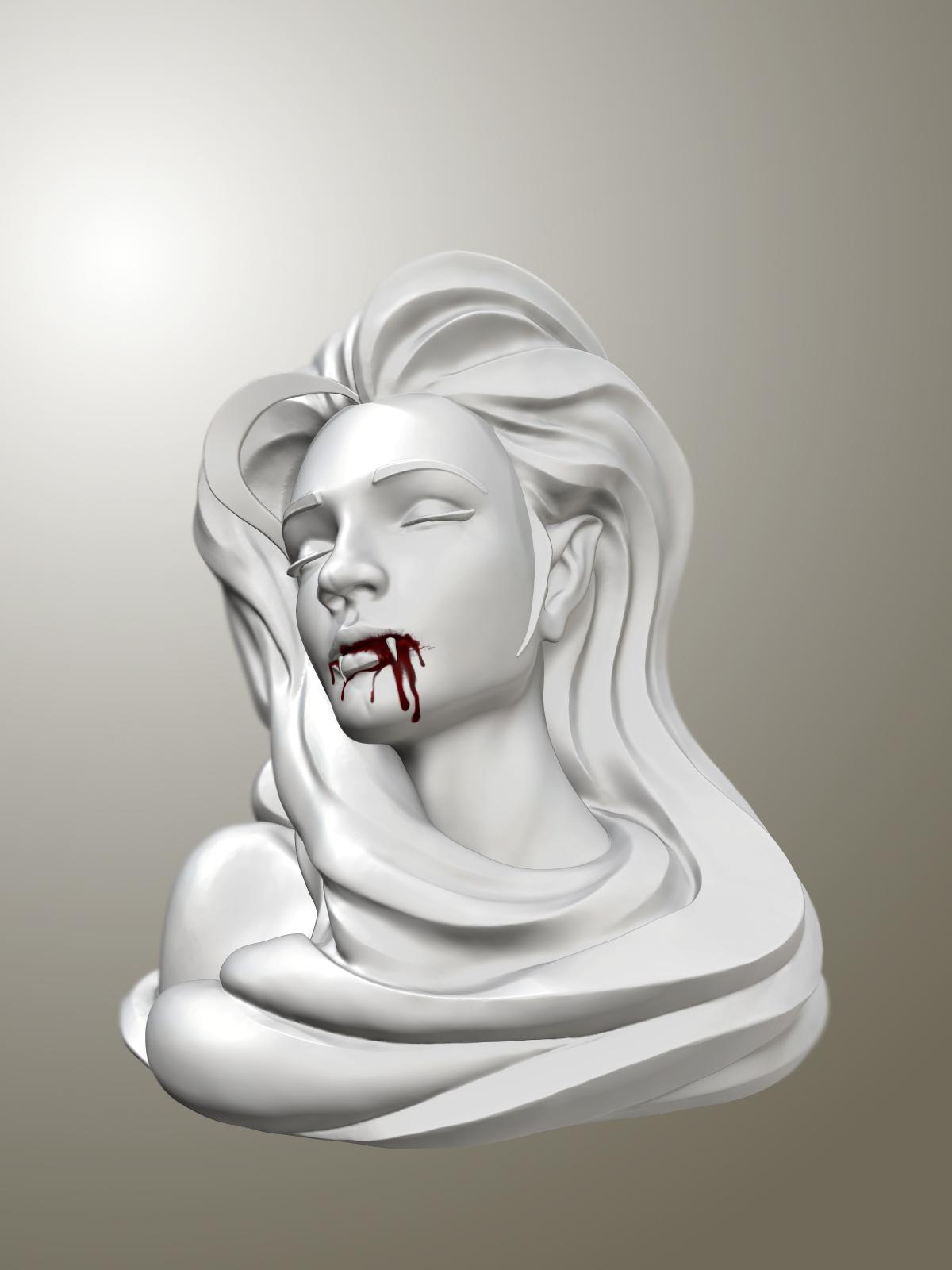 3Dprint Sculpture Vampire Girl 15X11 5X12 5 Cm Free 3D Model 3D Printable Obj -8617