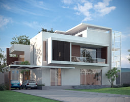 3d models luxury contemporary house - Free 3d House