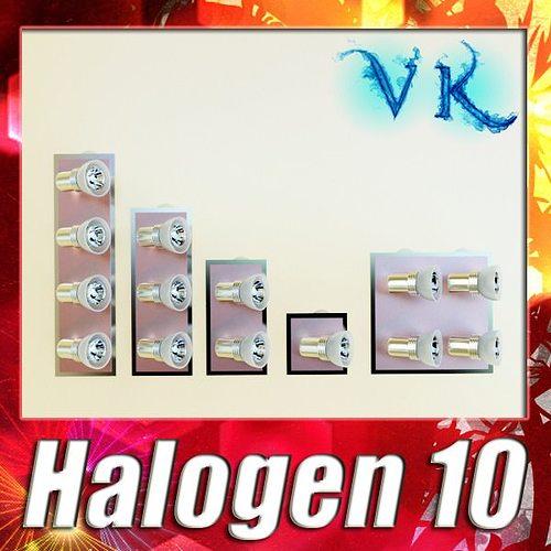 halogen lamp set 10 photoreal 3d model max obj mtl 3ds fbx mat 1