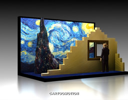 3d printable model the starry night by vincent van gogh 1889