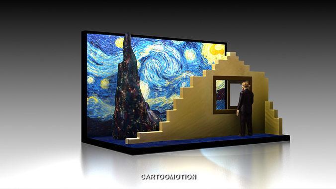 the starry night by vincent van gogh 1889 3d model max obj mtl stl 1