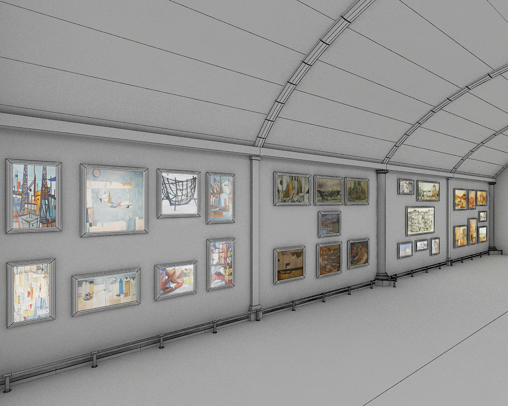 3d Exhibition Hall : Art gallery exhibition hall d model max cgtrader