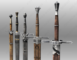 3D asset Bastard Swords