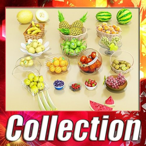 photorealistic fruits basket collection 3d model max obj mtl 3ds fbx 1