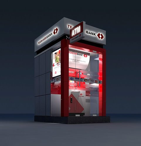 3d model detailed atm machine kiosk 3d model max obj mtl 3ds tga 1