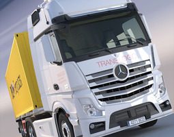 3d mercedes actros mp4 gigaspace truck with 40ft container