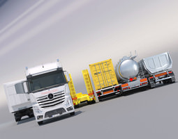 mercedes actros mp4 gigaspace with 5 semitrailers 3d