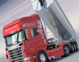 scania r730 v8 with aluminium dumper trailer 3d model