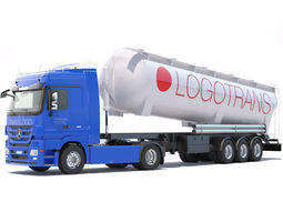 3D model Mercedes Actros with tipping silo