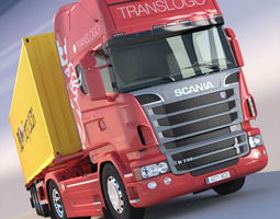 3d model scania r 730 v8 with 40ft containers trailer