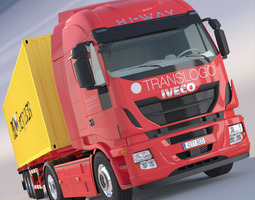 new iveco stralis hi-way with 40ft containers 3d model max obj 3ds fbx lwo lw lws hrc xsi
