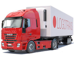 3D New IVECO Stralis with refrigerated semitrailer