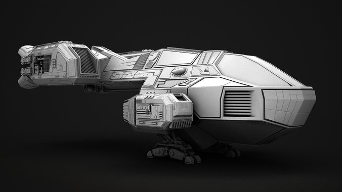 Small transport ship 3d model cgtrader - Small space craft room model ...