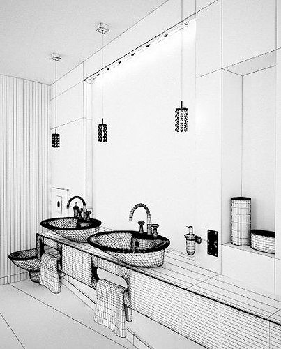 marble bathroom with mirrors and orange details archinteriors... 3d model max 1