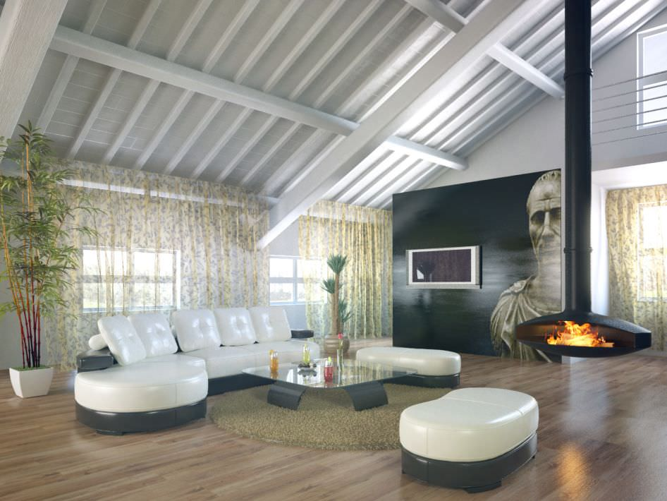 Stunning Loft Apartment With A Fireplace Leather Furniture An Model
