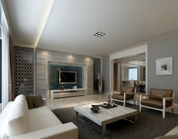 modern living room with luxury furniture 3d