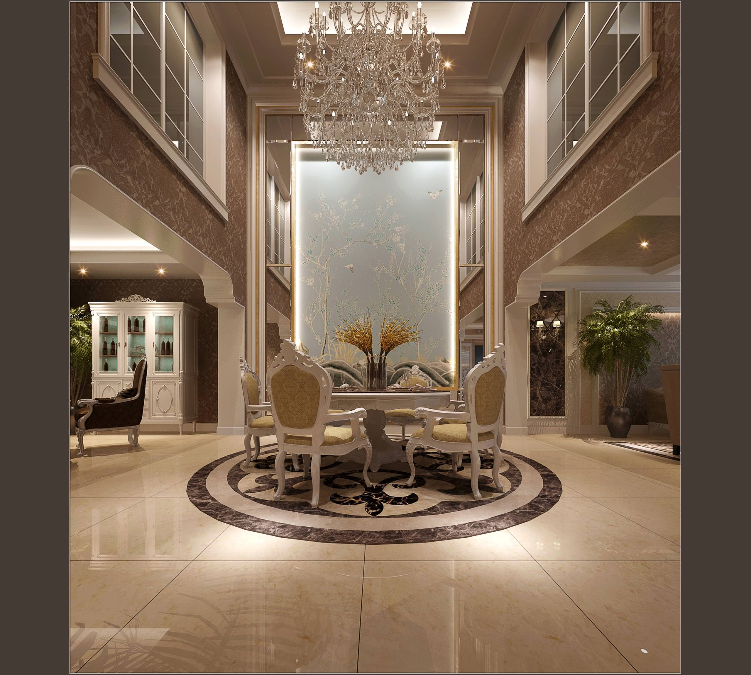 luxurious hotel hall and living room decorated with marble 3d