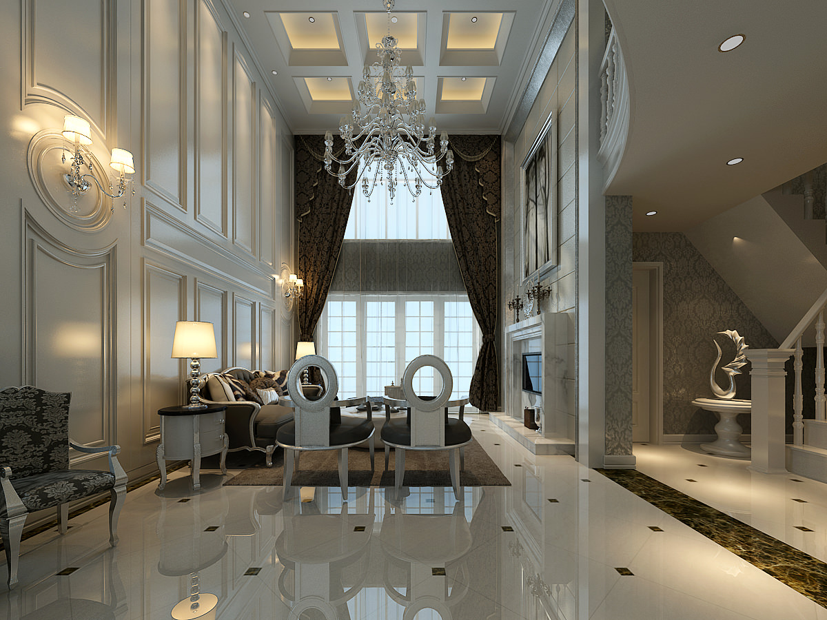 Huge Luxurious Living Room Decorated With Marble Floor And Br