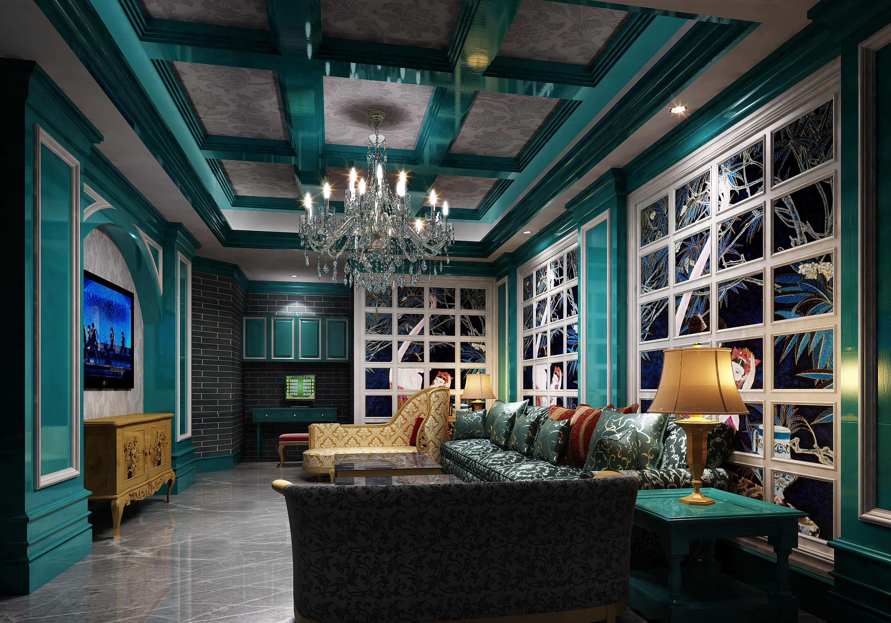 Original Modern Living Room Decorated In Cyan Color With Colo... 3d Model  Max