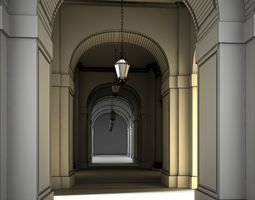 photorealistic hall scene 3d