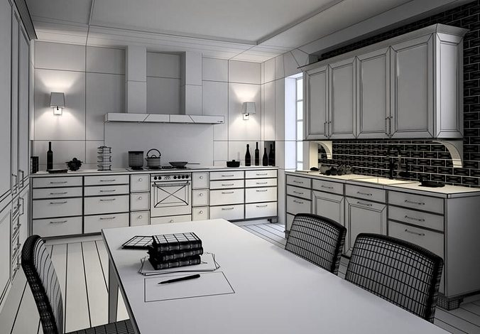 photorealistic kitchen room 3d model max 1