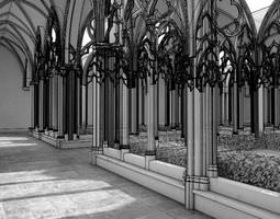 3D Antique Gothic Courtyard