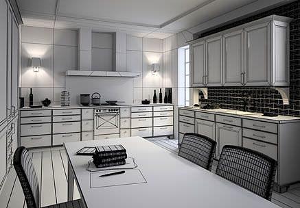 kitchen interior 3d model max 1