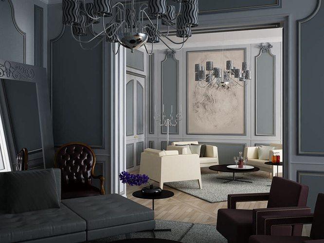 interior living room 3d model max 1