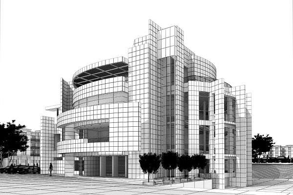 Modern office building exterior 3d model max for Exterior 3d model
