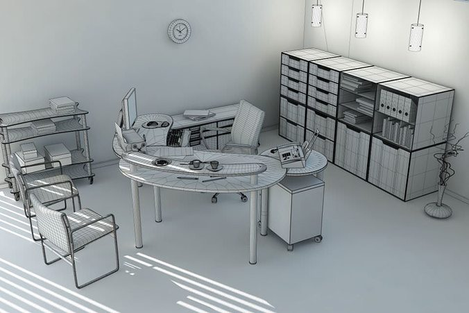 office workplace interior 3d model c4d 1
