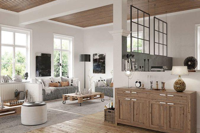 livingroom interior 3d model max 1