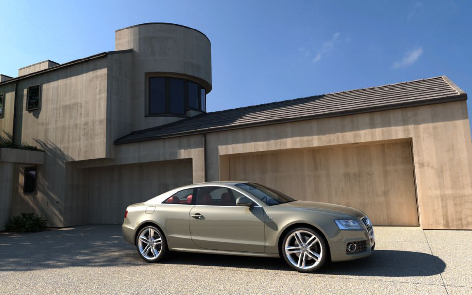 Yard Garage And A Car Audi D CGTrader - Audi car 3d image