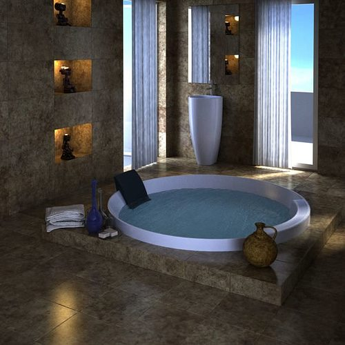 3d spa with jacuzzi and marble interior cgtrader for Bathroom design 3ds max